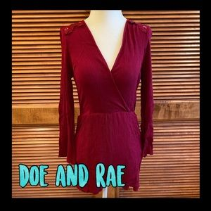Doe and Rae long sleeve romper with lace